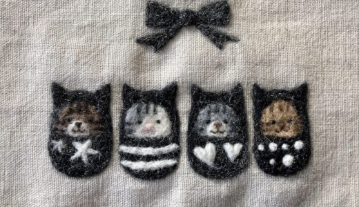 【ハロウィンの額飾り】モノトーンの着ぐるみのねこ・キラキラ羊毛「トゥインクル」