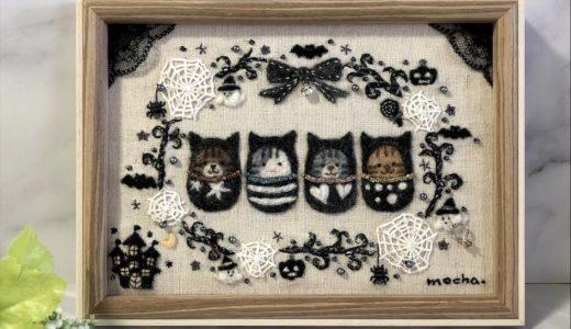 【ハロウィンの額飾り】キラキラモノトーンのリース・ホーンテッドマンションの羊毛刺しゅう