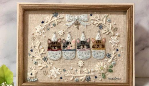 ブランチリースと雪の結晶のリース・トナカイの木馬の刺繍【クリスマスの額飾り】