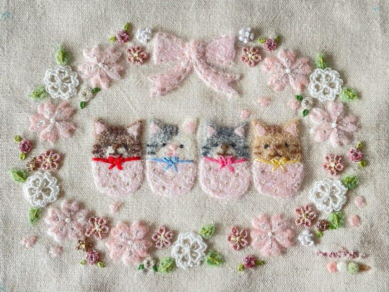 ラメ糸のバラの花