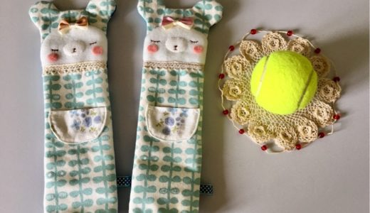 テニスラケットのグリップカバー・クマさん(ピンク)