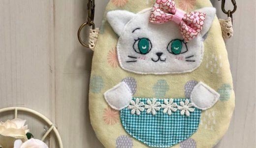 レトロ可愛いネコのポーチ③・ぱっちりお目目の「レモンライム」