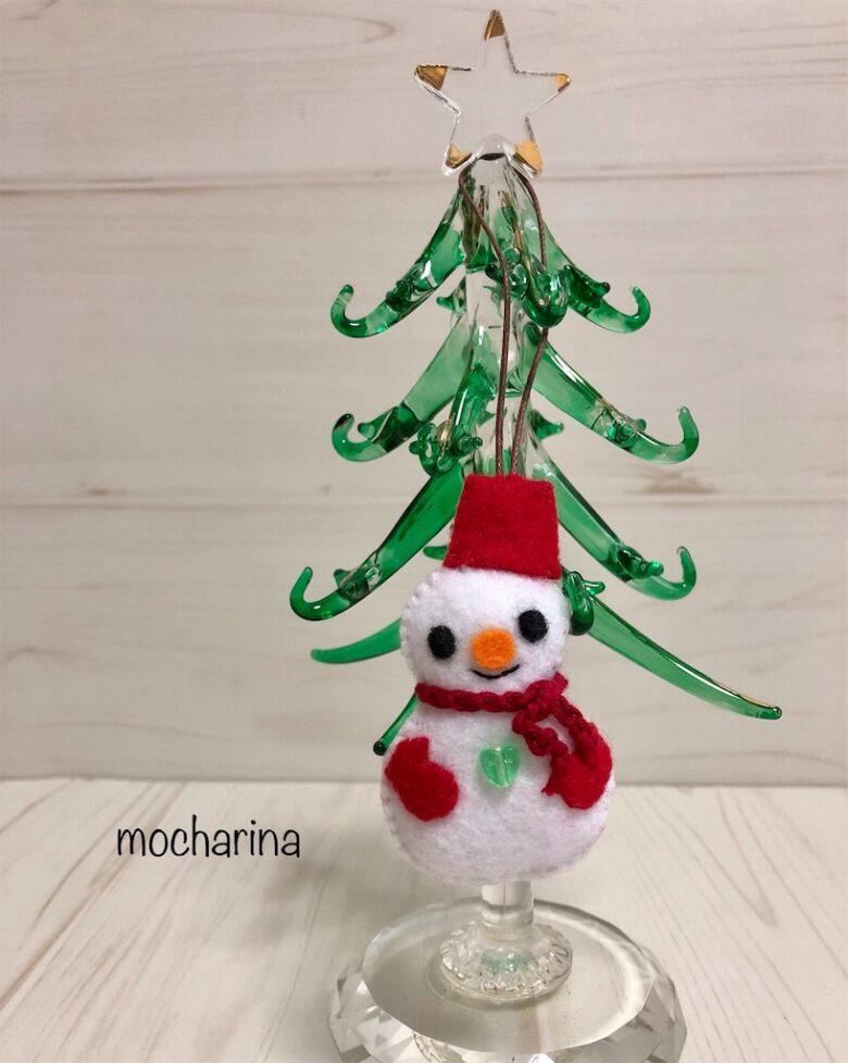 クリスマスオーナメント、フェルトの「スノーマン」の作り方