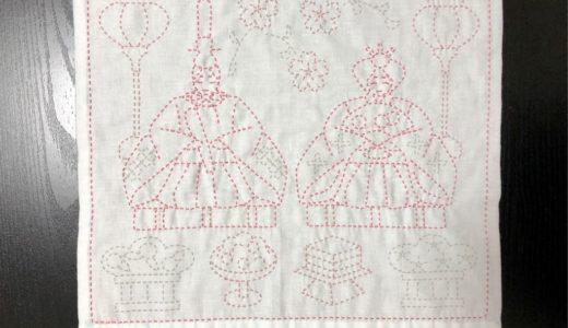 刺し子の花ふきん「ひな飾り」③・桃の花、ぼんぼり、ひな菓子を縫う