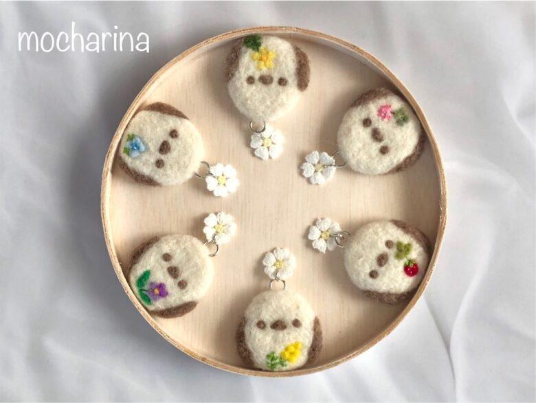 シマエナガちゃんのクッキーホルダー・野の花