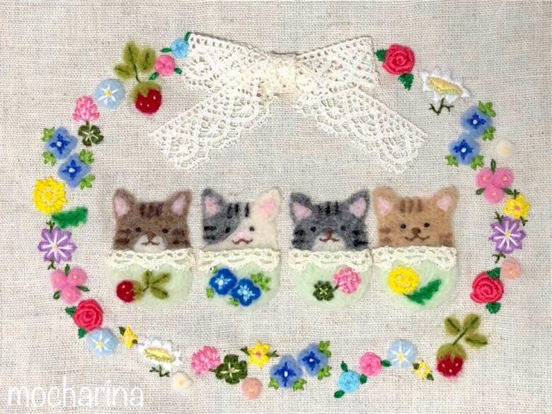 【春の額飾り】カラフルな春のお花と野いちごのリース・羊毛フェルト刺しゅう