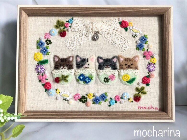 【春の額飾り】4匹のねこちゃんと春のお花のリースの完成・羊毛フェルト刺しゅう