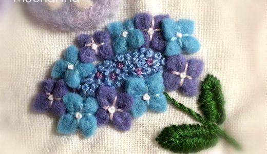 【初夏の額飾り】フェルトの紫陽花と刺しゅうの作り方・4匹のねこちゃん
