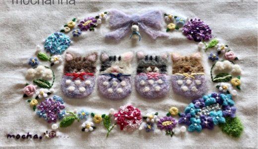 【初夏の額飾り】紫陽花のリース・バラの刺しゅうと羊毛フェルトのてるてる坊主