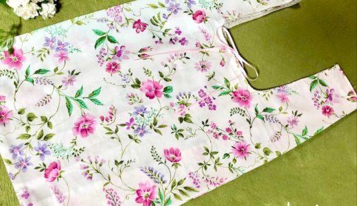 レジ袋型のピンクの花柄 エコバッグの作り方